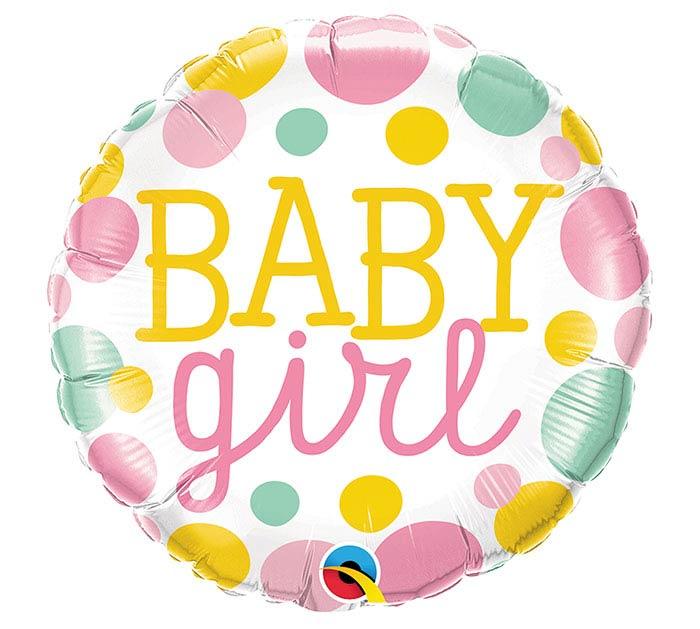 "18""PKG BABY GIRL DOTS"