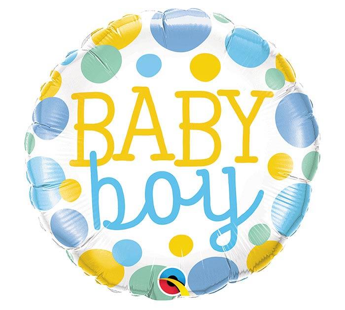 "18""PKG BABY BOY DOTS"