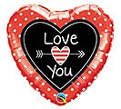 "18"" LOVE YOU DOTS  ARROWS HEART"
