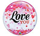 """22""""PKG LOVE YOU CONFETTI HEARTS BUBBLE"""