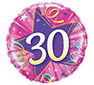 "18""PKG HBD 30 SHINING STAR HOT PINK"