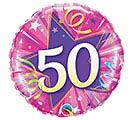 "18""PKG HBD 50 SHINING STAR HOT PINK"