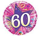 "18""PKG HBD 60 SHINING STAR HOT PINK"