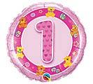 """18""""PKG HBD AGE 1 PINK TEDDIES"""