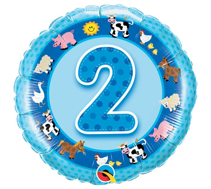 "18""PKG HBD AGE 2 BLUE FARM ANIMALS"