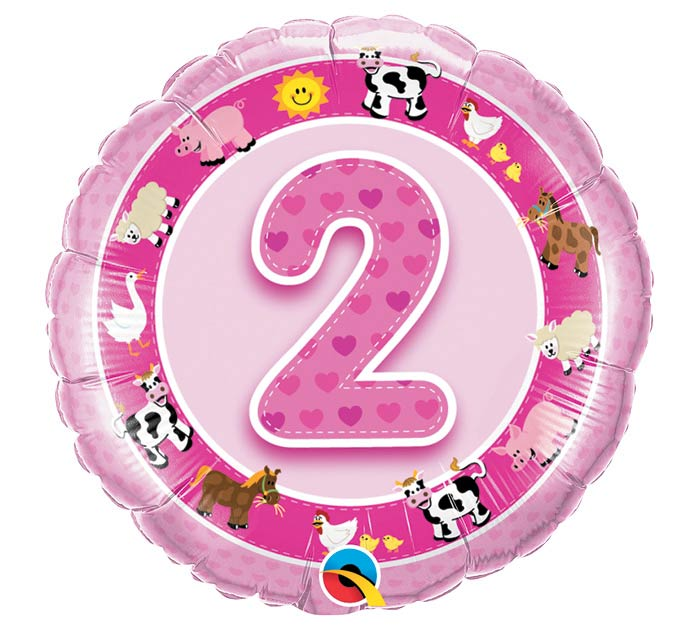 "18""PKG HBD AGE 2 PINK FARM ANIMALS"
