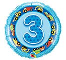 "18""PKG HBD AGE 3 BLUE TRUCKS  DIGGERS"
