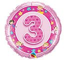 "18""PKG HBD AGE 3 PINK FAIRIES"