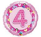 "18""PKG HBD AGE 4 PINK PRINCESS"