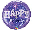 "18""PKG HBD BIRTHDAY PURPLE SPARKLES"