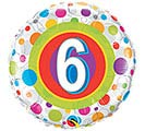 "18""PKG HBD AGE 6 COLORFUL DOTS"