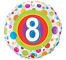 "18""PKG HBD AGE 8 COLORFUL DOTS"