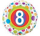 """18""""PKG HBD AGE 8 COLORFUL DOTS"""