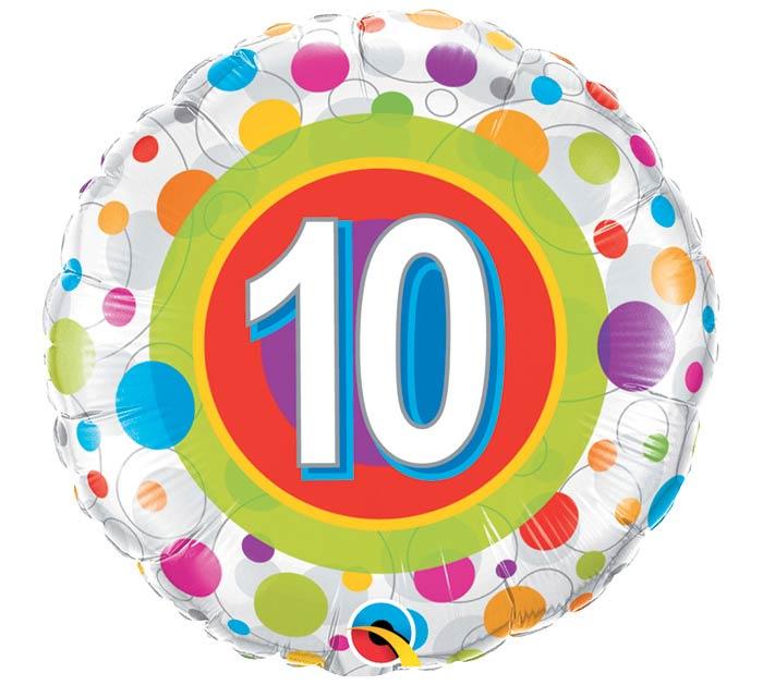 """18""""PKG HBD AGE 10 COLORFUL DOTS"""