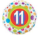 "18""PKG HBD AGE 11 COLORFUL DOTS"
