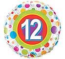 """18""""PKG HBD AGE 12 COLORFUL DOTS"""