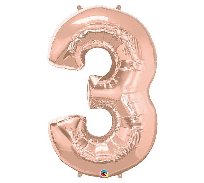 "34"" PKG NUMBER 3 ROSE GOLD BALLOON"