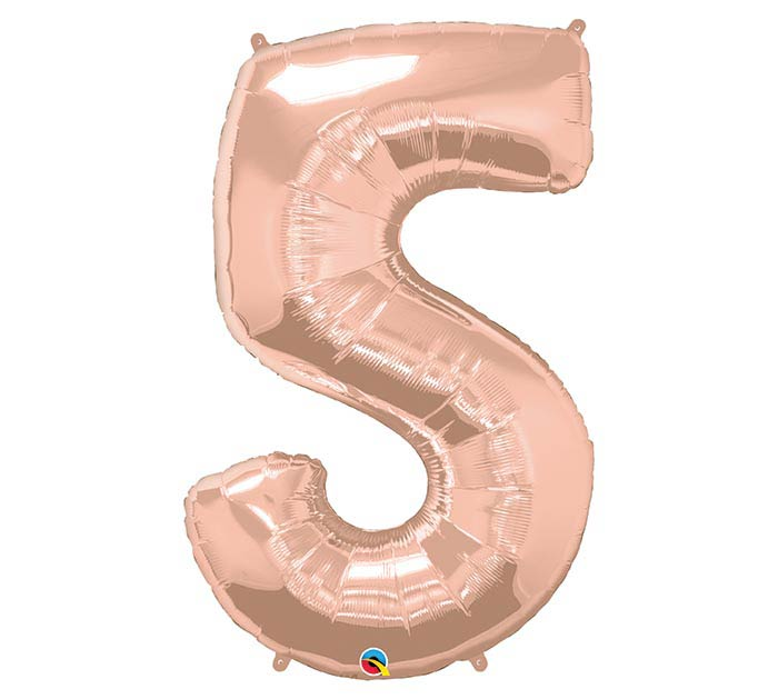 "34"" PKG NUMBER 5 ROSE GOLD BALLOON"