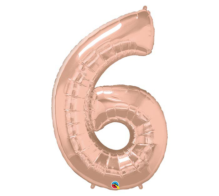 "34"" PKG NUMBER 6 ROSE GOLD BALLOON"