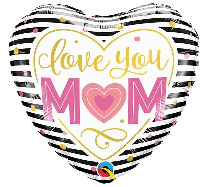 "18""MOM LOVE YOU M(HEARTM STRIPES"