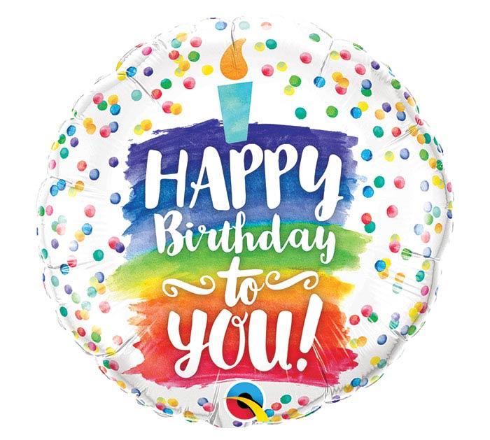 """18""""PKG HBD TO YOU RAINBOW CAKE"""