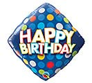 "18""PKG HBD BIRTHDAY BLUE  COLORFUL DOTS"