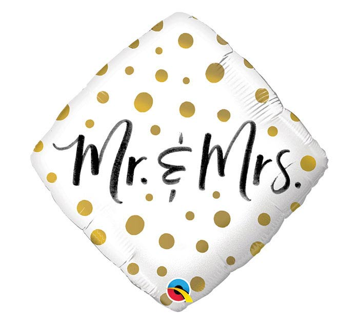 "18""PKG WED MR.  MRS. GOLD DOTS"