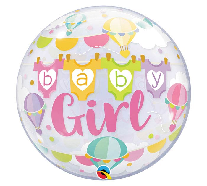 """22""""PKG BABY GIRL HOT AIR BALLOONS BUBBLE"""