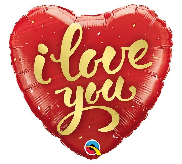 """18"""" I LOVE YOU GOLD SCRIPT HEART"""