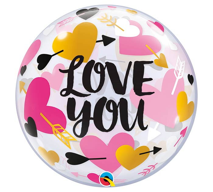 "22""PKG LOVE YOU HEARTS  ARROWS BUBBLE"