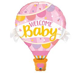 """42""""PKG WELCOME BABY PINK BALLOON SHAPE"""
