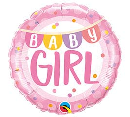 """18""""PKG BABY GIRL BANNER  DOTS"""
