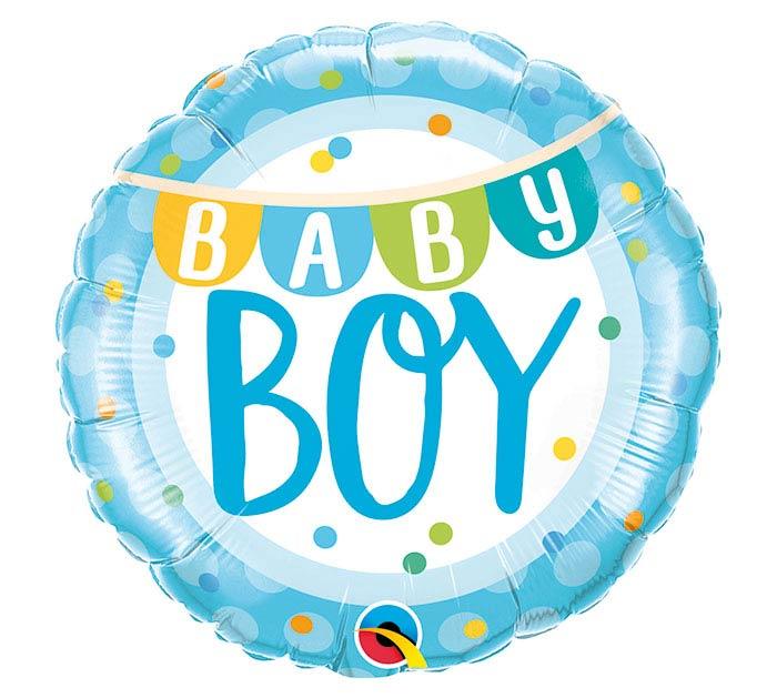"""18""""PKG BABY BOY BANNER  DOTS"""