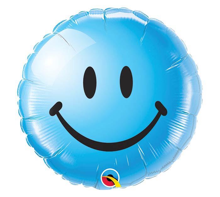 "18"" PKG BLUE SMILEY FACE BALLOON"