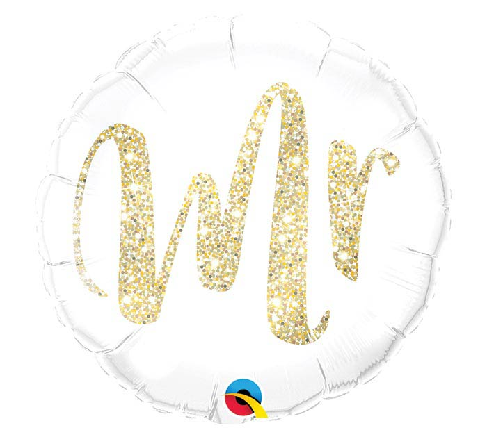 "18"" PKG MR GLITTER GOLD BALLOON"