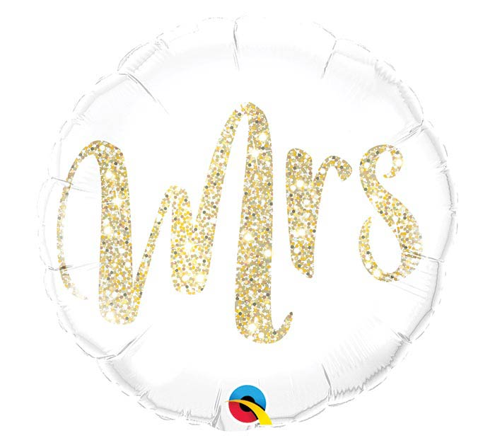"18"" PKG MRS GLITTER GOLD BALLOON"