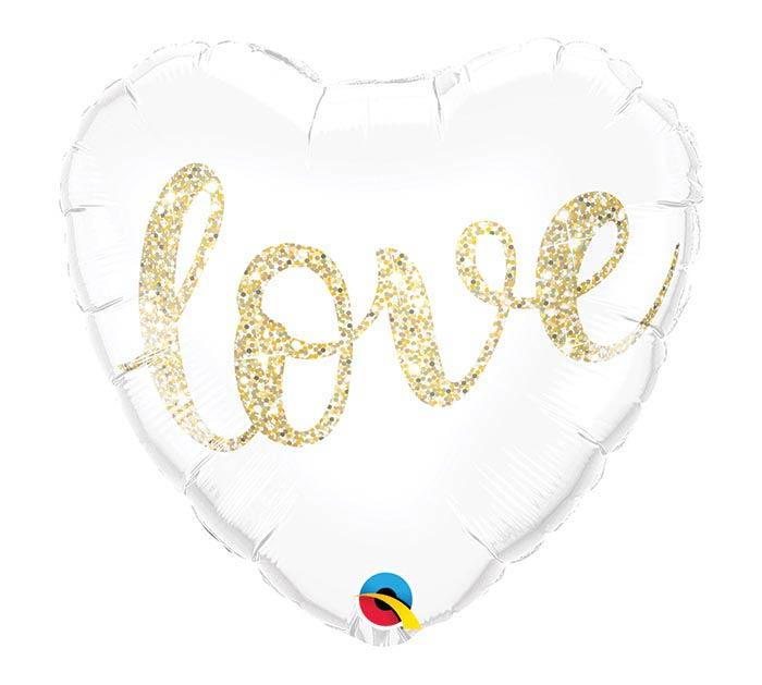 """18""""PKG LOVE GLITTER GOLD HEART"""
