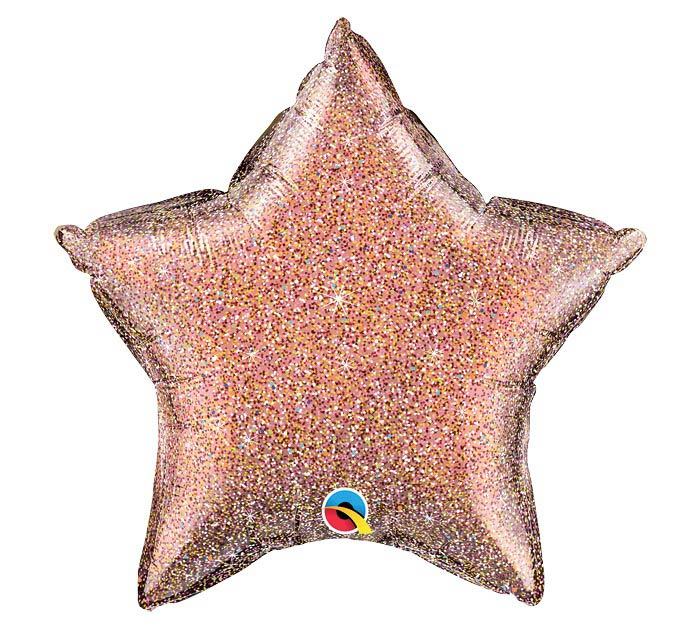 "20""SOL GLITTERGRAPHIC ROSE GOLD STAR"