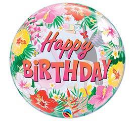 "22"" PKG TROPICAL BIRTHDAY BUBBLE BALLOON"