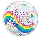 "22""PKG BIRTHDAY RAINBOW UNICORNS BUBBLE"