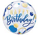 "22""PKG BIRTHDAY BLUE  GOLD DOTS BUBBLE"