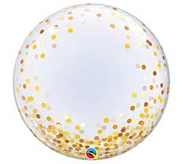 "24""PKG GOLD CONFETTI DOTS DECO BUBBLE"