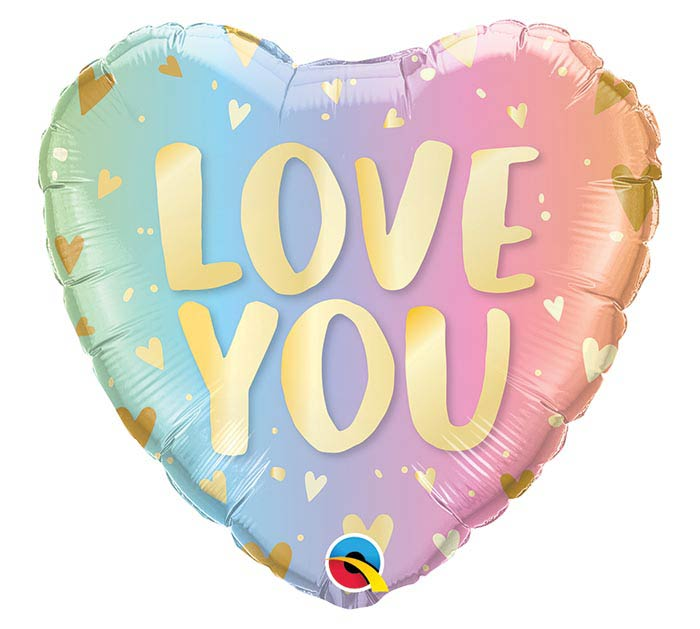 "18""PKG LOVE YOU PASTEL OMBRE  HEARTS"