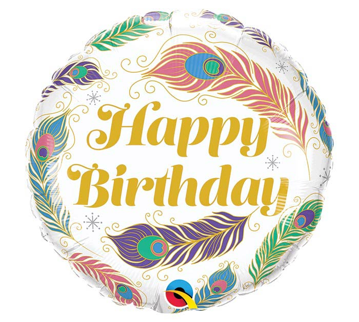 "18"" PKG HAPPY BIRTHDAY FEATHERS BALLOON"