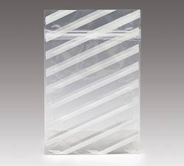ZIPPER POUCH WHITE STRIPES ON CLEAR