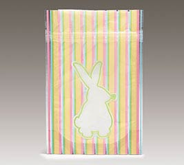 ZIPPER POUCH EASTER BUNNY STRIPES