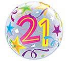 """22"""" PKG 21ST BIRTHDAY BUBBLE BALLOON"""