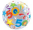 "22"" PKG 50TH BIRTHDAY BUBBLE BALLOON 1st Alternate Image"