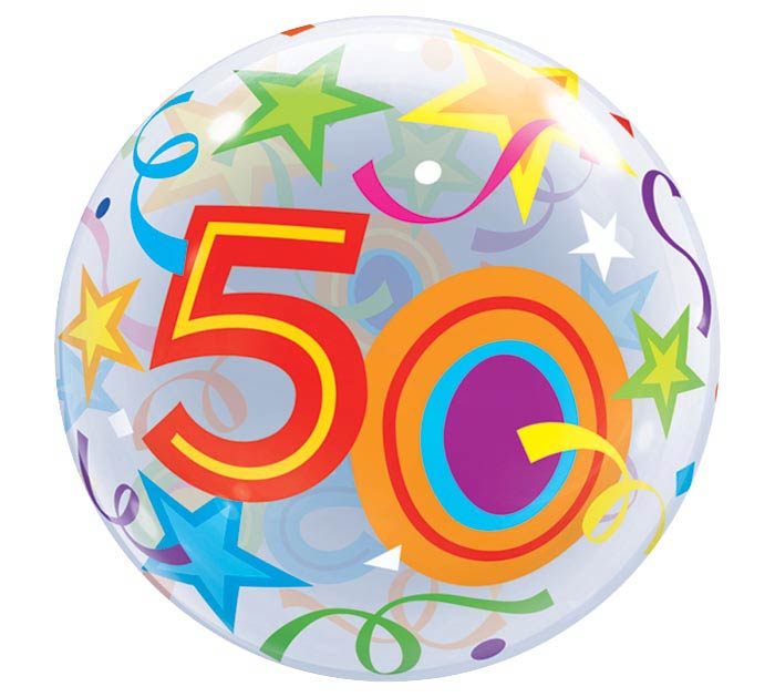 "22"" PKG 50TH BIRTHDAY BUBBLE BALLOON"