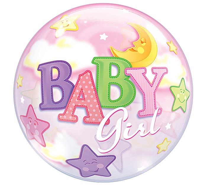 """22"""" PKG BABY GIRL BUBBLE BALLOON"""